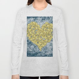 Gold butterflies in heart shape on teal web Long Sleeve T-shirt