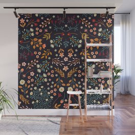 Watercolor flowers - midnight Wall Mural