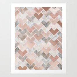 Rose Gold and Marble Geometric Tiles Art Print