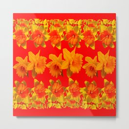 CHINESE RED GOLDEN DAFFODILS GARDEN ART DESIGN Metal Print