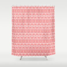 Dividers 07 in Red over White Shower Curtain