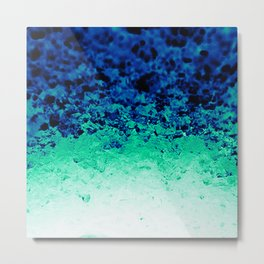 Midnight Teal Ombre Crystals Metal Print