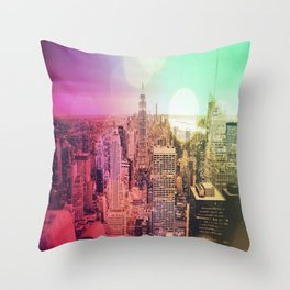 New York City Rainbow Bokeh Throw Pillow