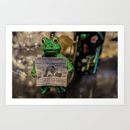 Froggy Reads the Wall Street Journal Art Print