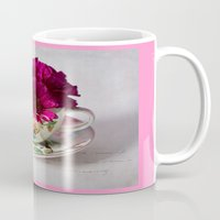 shabby chic Mugs featuring Shabby chic floral by inkedsandra
