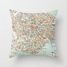 Vintage Venice Map Throw Pillow