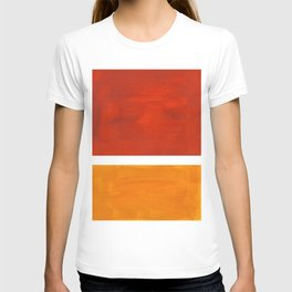 Burnt Orange Yellow Ochre Mid Century Modern Abstract Minimalist Rothko Color Field Squares T-shirt