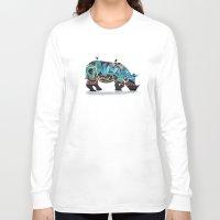 rhino Long Sleeve T-shirts featuring Rhino by mark ashkenazi