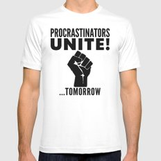 Procrastinators Unite Tomorrow (Red) SMALL White Mens Fitted Tee