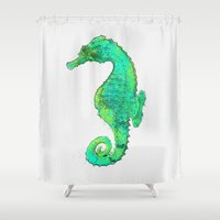 sea horse Shower Curtains featuring Sea Horse by jennyhgorman