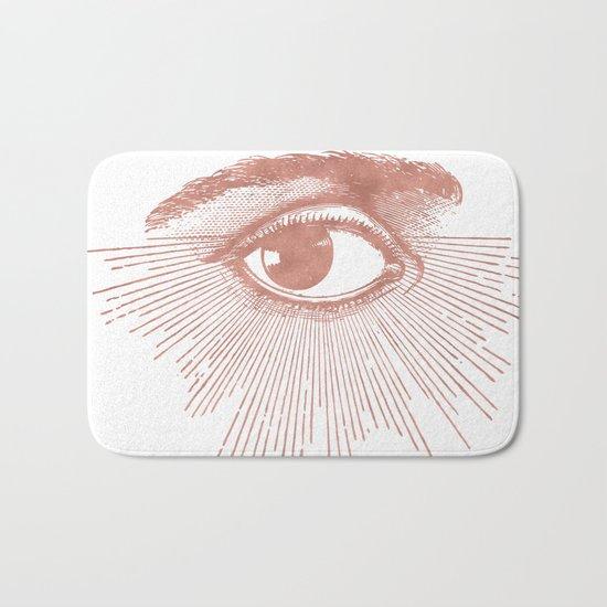 I see you. Rose Gold Pink Quartz on White Bath Mat