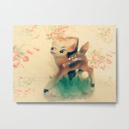 fawn and flowers Metal Print