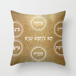 Passover Pesach Seder Plate Design Throw Pillow
