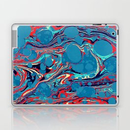 Vintage Marble Blue Watercolor Ink Abstract Pattern Laptop & iPad Skin