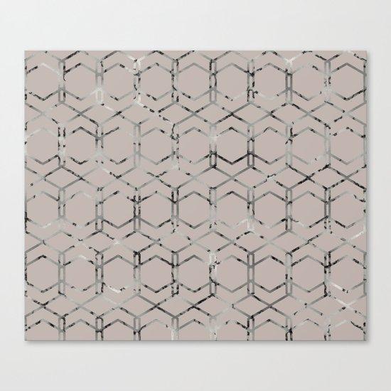 Silver Geometric Art Deco - Gatsby Taupe Canvas Print