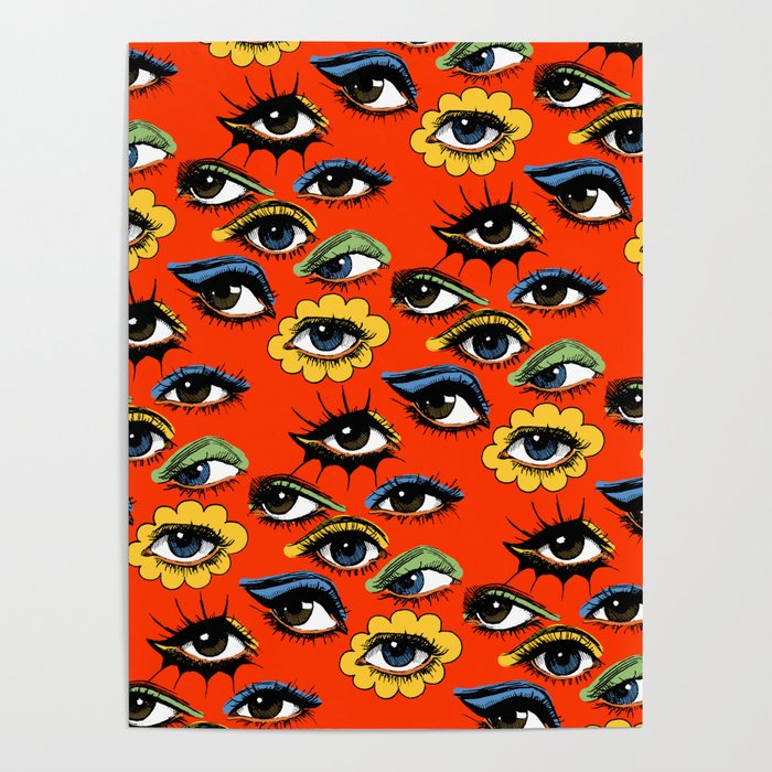60s eye pattern poster by corinneelyse society6