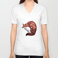 red hood V-neck T-shirts featuring Little Red Riding Hood by olivier silven