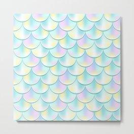 Pastel Mermaid Pattern, Holographic Fish Scale Print Metal Print