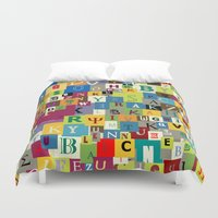 alphabet Duvet Covers featuring Alphabet by Rceeh