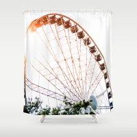 ferris wheel Shower Curtains featuring  Ferris Wheel by tracygrahamcracker