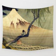 Katsushika Hokusai Boy Viewing Mount Fuji Wall Tapestry
