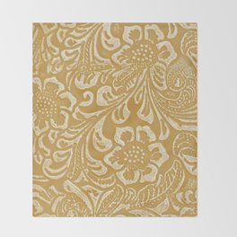 Tan & Cream Tooled Leather Throw Blanket
