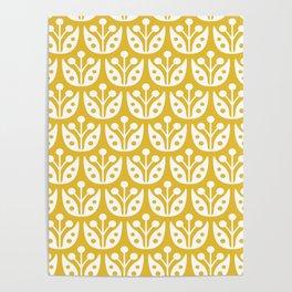 Mid Century Modern Flower Pattern Mustard Yellow Poster
