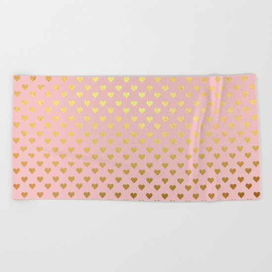Gold and pink sparkling and shiny Hearts pattern Beach Towel