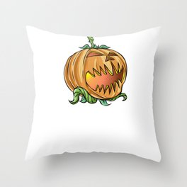 Scary Pumpkin, It's Show Time Funny Halloween Horror Scary Throw Pillow