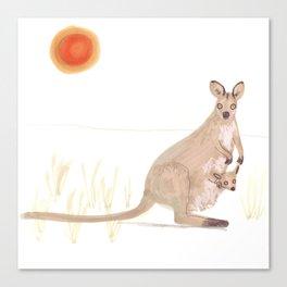 Kangaroo and baby Canvas Print