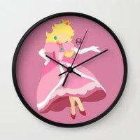 princess peach Wall Clocks featuring Princess Peach(Smash) by samaran