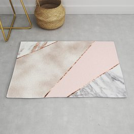 Spliced mixed rose gold marble Rug