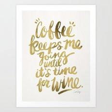 Coffee & Wine – Gold Art Print