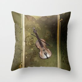 Wonderful violin with clef and key notes Throw Pillow