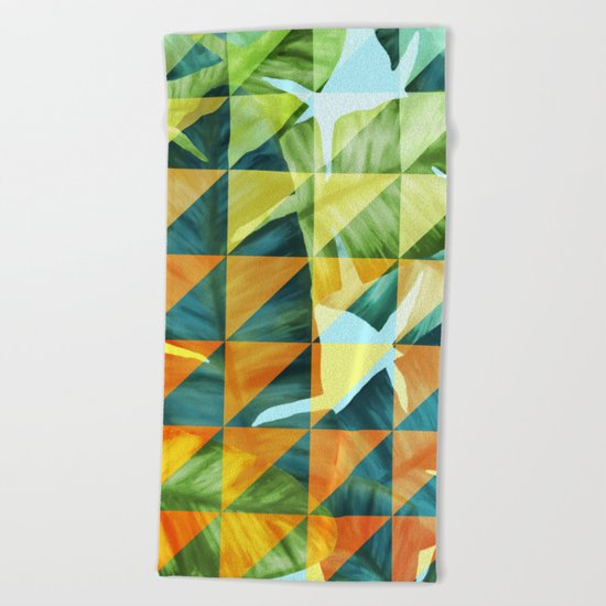 Abstract Geometric Tropical Banana Leaves Pattern Beach Towel