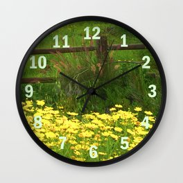 Daisies and Plumes at the Split Rail Fence Wall Clock