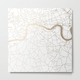 White on Gold London Street Map Metal Print
