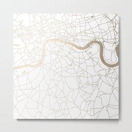 White on Gold London Street Map Metal Print