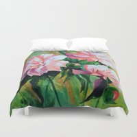 peonies Duvet Covers featuring Peonies by OLHADARCHUK