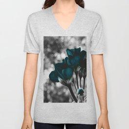 Deep Ocean Teal Near Bloom Flowers : Pop of Color Unisex V-Neck