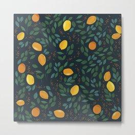 Vintage yellow lemon tree on the green leaves hand drawn illustration pattern Metal Print