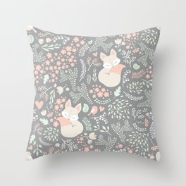 Sleeping Fox - grey Throw Pillow