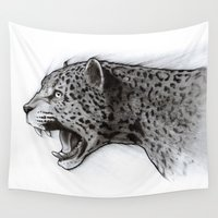 jaguar Wall Tapestries featuring Jaguar Charcoal by Puddingshades