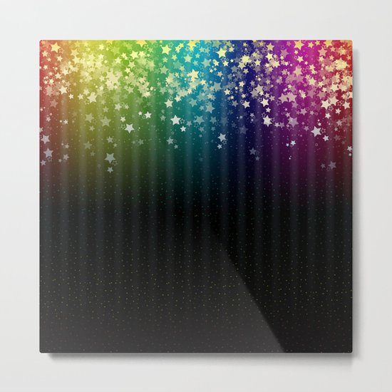 Colorful Space Rainbow Stars Metal Print