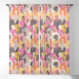 Female diverse faces pink Sheer Curtain