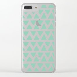 Shapes Nr.1 - Teal Triangles Pattern Clear iPhone Case
