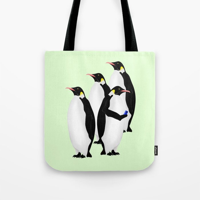 Penguin On A Mobile Device Tote Bag