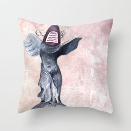 Winged Robot of Victory Throw Pillow