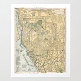 Vintage Map of Buffalo New York (1891) Art Print