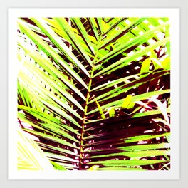 Palm Leaves, Bright Green, Yellow and Magenta Art Print
